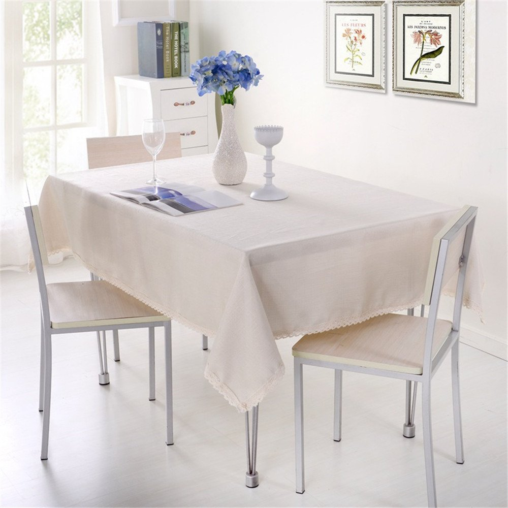 QsyyHome Hotel Home Rectangle/Square Imitation Linen Solid Color Beige Tablecloth with Lace for Dinning/Tea/TV Approx 51x66inch/130x170cm