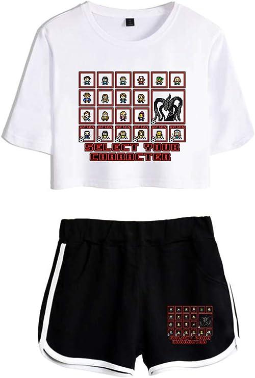 Image of HUASON Camisetas Tops Shorts Verano Traje de Ropa Deportiva Casual para Niñas y Mujeres Top Corto Pantalón Corto