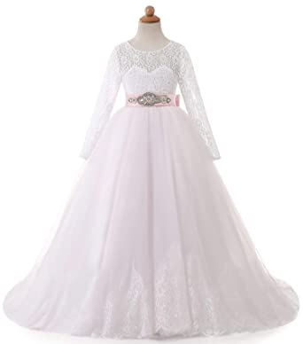 f8035ee06 Amazon.com  TBB Flower Girl Dress for Wedding Pageant White and Pink ...