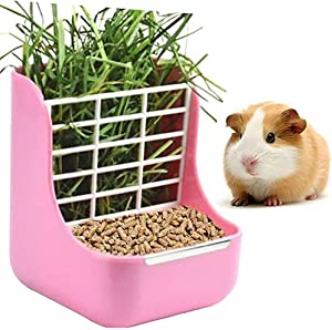 NEWCOMDIGI Food Hay Feeder, Hay Food Bin Feeder for Guinea Pig, Rabbit, Chinchilla, and Other Small Animals, Plastic Feeder Bowls Use for Grass & Food, Hay Feeder Less Wasted Hay Rack Manger