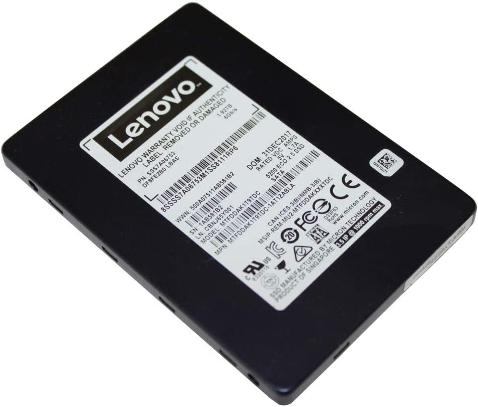 "Lenovo 5200 960 GB Solid State Drive - 3.5"" Internal - SATA (SATA/600) - Read Intensive - Server Device Supported - 540 MB/s Maximum Read Transfer Rate - 256-bit Encryption Standard"