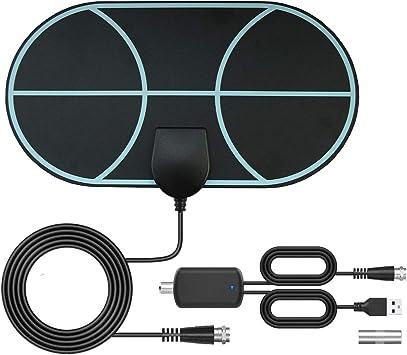 Antena de TV interior, Max 120 millas/200 km Digital Freeview HDTV antena, DVB Radius señales de TV aérea, VHF/UHF/FM, soporte Smart TV HD 4K 1080P
