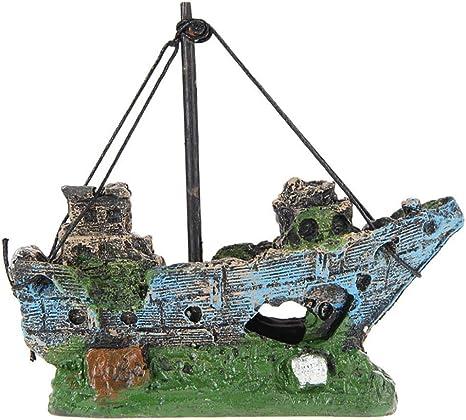 Tug Boat Shipwreck Artificial Polyresin Aquarium Ornament Aquatic Model Decoration Fish Tank Marine Decor Ornaments
