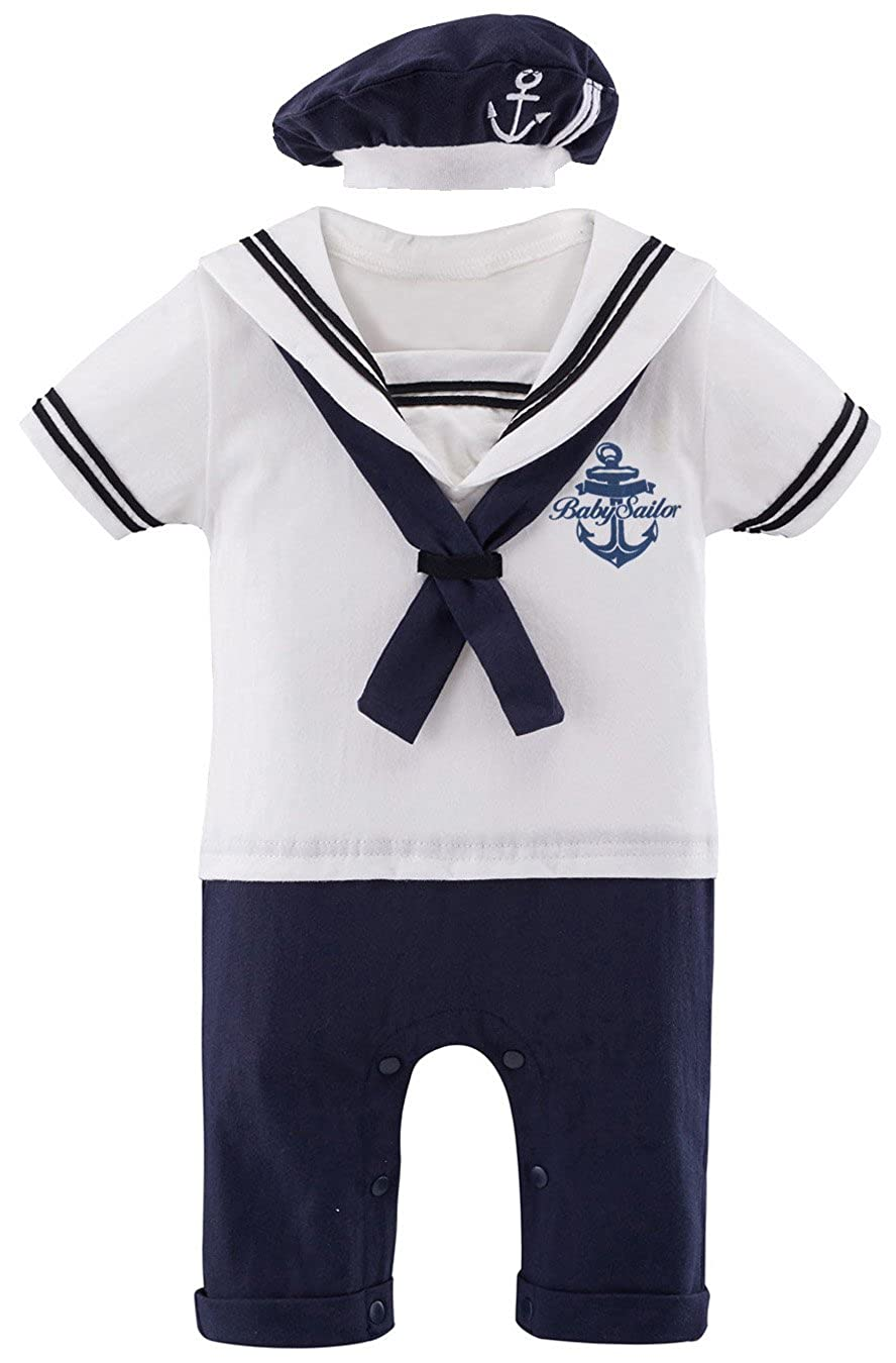 Mombebe Baby Boys Sailor Romper Outfit with Hat