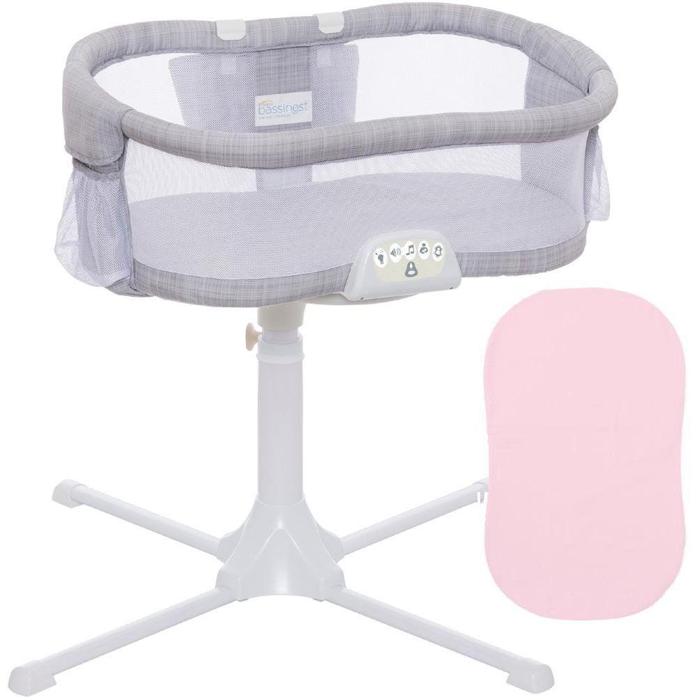 HaloUSA - Swivel Sleeper Bassinet - Luxe PLUS Series - Gray Melange with Pink Fitted Sheet