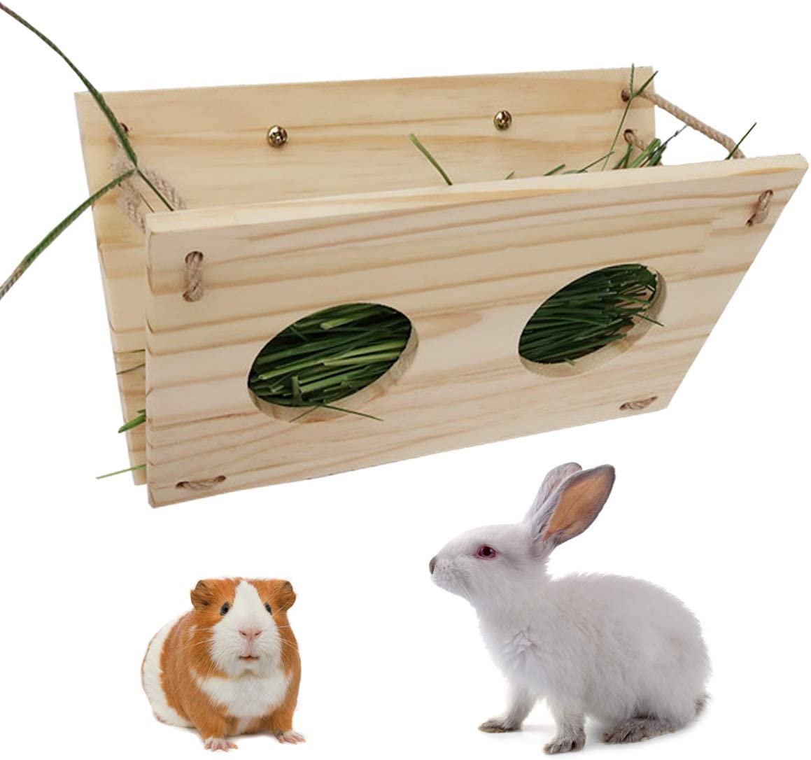Rabbit Wooden Hay Rack Multi-Functional Manger Grass Holder for Small Pets Bunny Chinchilla Guinea Pigs