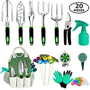 AOKIWO 20 Piece Garden Tools Set, Heavy Duty Aluminum Hand Tool Kit with Garden Gloves and Organizer Tote Outdoor Gardening Gifts Tools Set for Men Women
