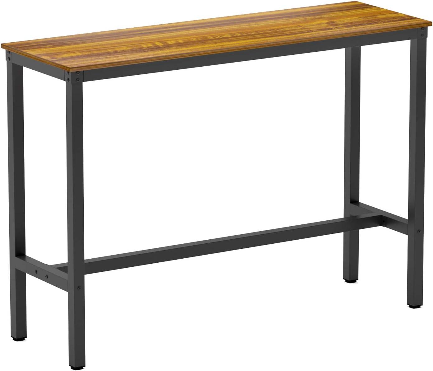 Teraves Bartisch mit solidem Metallrahmen, Thekenhöhe Esstisch Küche Bar  Tisch für Esszimmer, Wohnzimmer 9.9