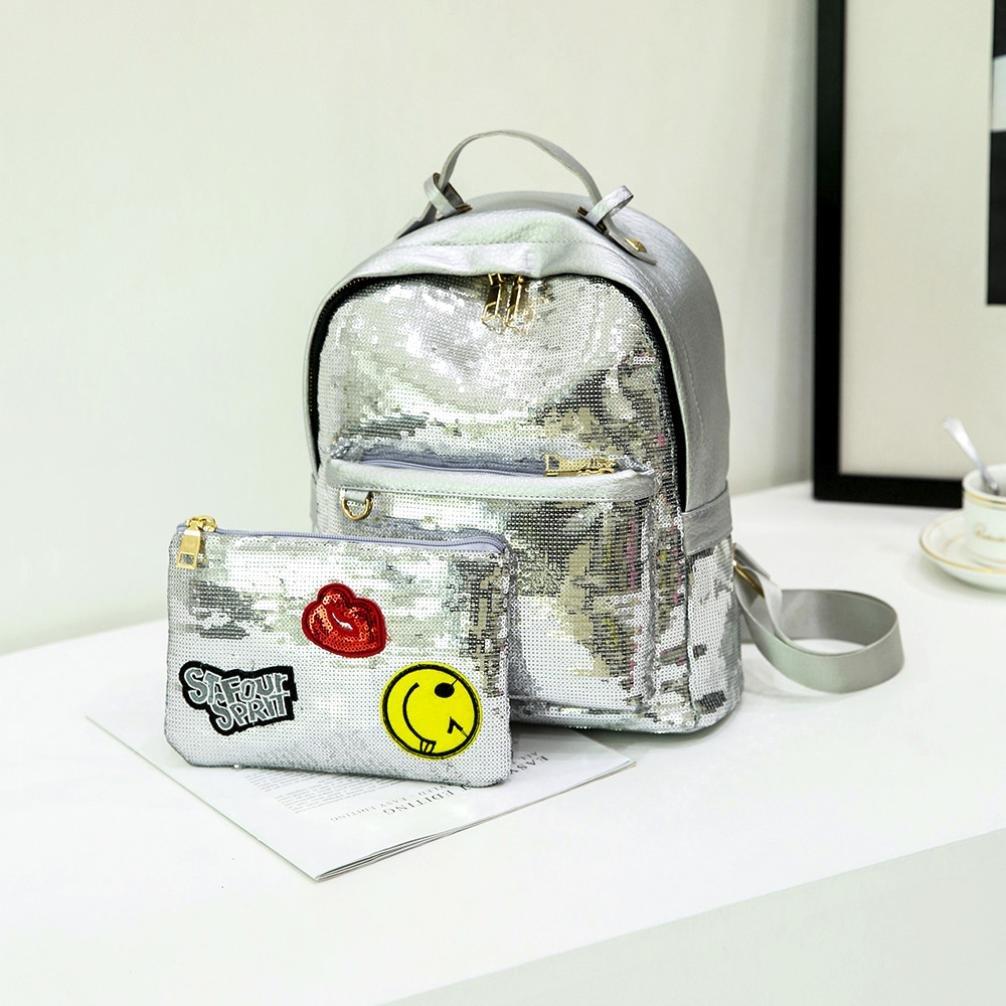 DDLBiz Fashion Bling Sequins Handbag Shoulder Bag School Backpacks For Women Girls (Silver)