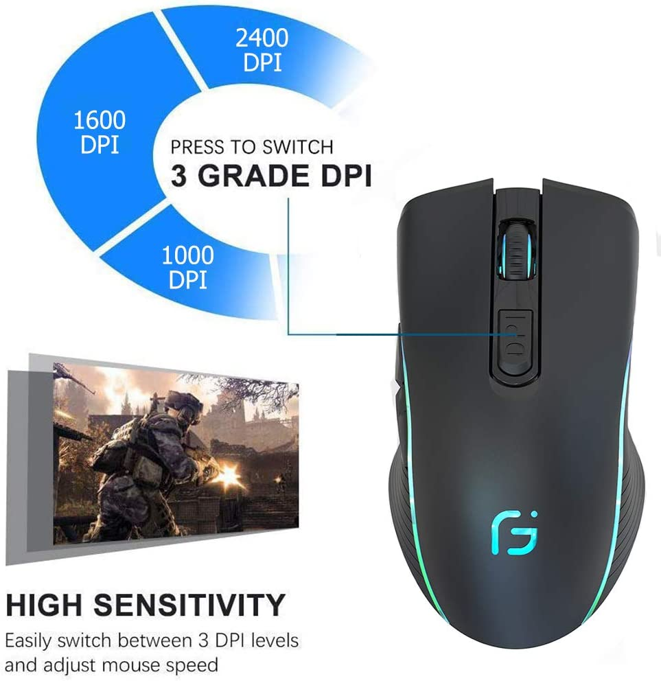 3 Levels Adjustable DPI for Laptop Computer Windows//Mac Rechargeable Gaming Mouse Wireless 7 Color Dazzle Light Dual Mode Ergonomic Mouse with USB Receiver