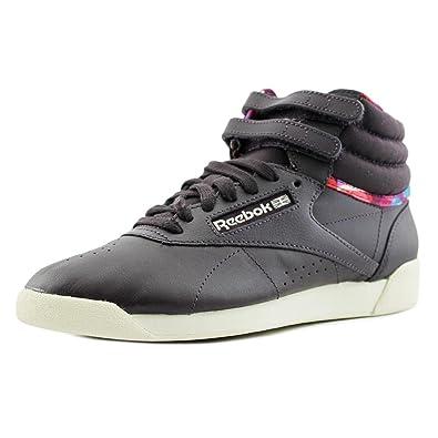 0ff6245f326f8 Reebok Womens Freestyle HI GEO Fashion Sneakers Violet White RED Blue M49110