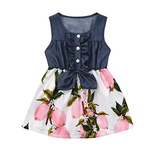 3f55b91b340cb Amazon.com: Kiacran Little Girls Denim Pleated Floral Sleeveless ...