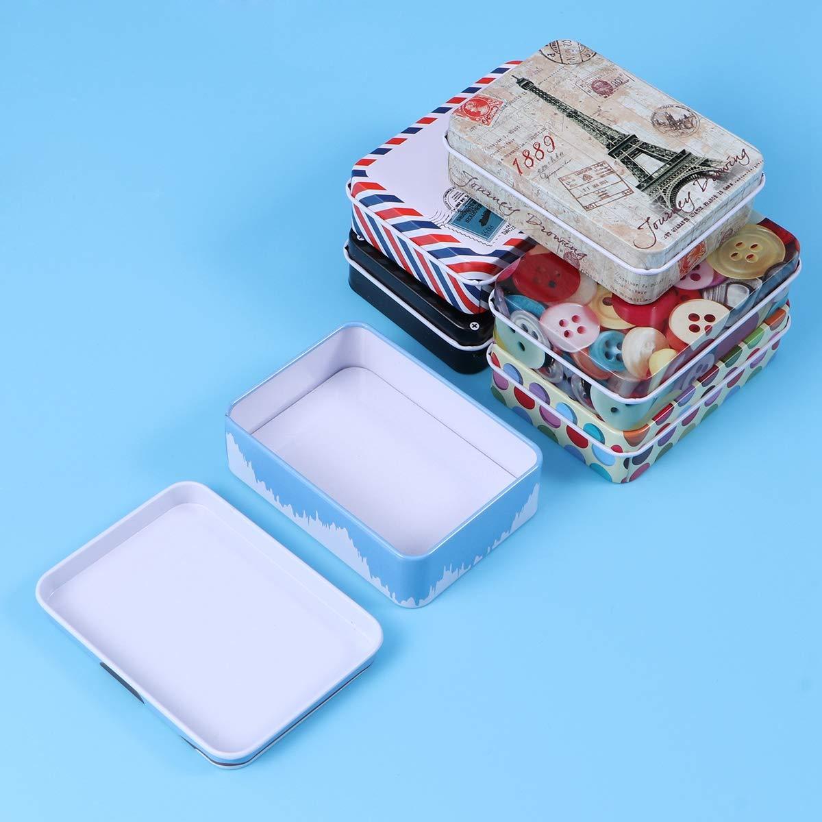 YeahiBaby Retro Aufbewahrungsbox Metall mit Deckel f/ür Schmuck Karten M/ünze 6 St/ücke