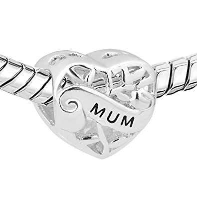 Pugster Heart Mum I Love You Filigree 925 Sterling Silver Charms Sale Cheap Bead fit Pandora Chamilia Bracelet Gift C8fOx