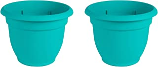 "product image for Bloem Ariana Resin Planter with Self Watering Disk, Turquoise Blue - Set of 2 - Choose Size (10"")"