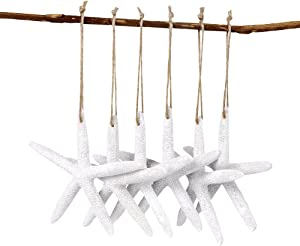 AerWo 20pcs White Artificial Resin Starfish with Rope, Hanging Finger Star Fish DIY Craft Beach Wedding Decorations Christmas Ornaments, 4inch
