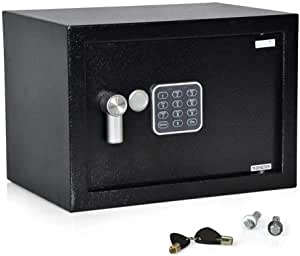 SereneLife Compact Safe Box, Safes & Lock Boxes, Gun Safe Box, Safe Security Box, Digital Safe Box, House Safe, Combination Safe Box for Money, Steel Alloy Drop Safe - Includes Keys (SLSFE14)