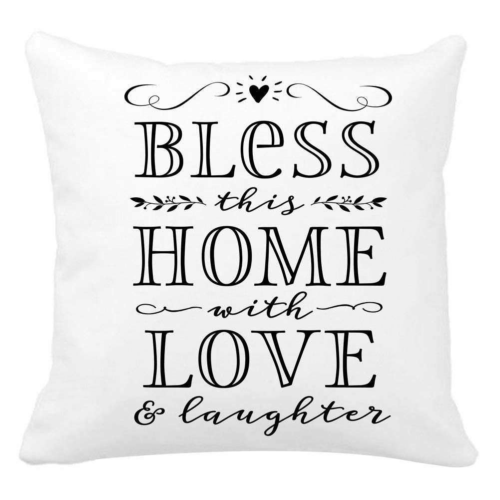 Kithomer ホワイトベルベットホーム装飾枕カバー スーパーソフトスロー枕カバー クッションカバー 18 x 18インチ 引用句 18 x 18 18 x 18 Bless This Home With Love & Laughter B07GD51NRX