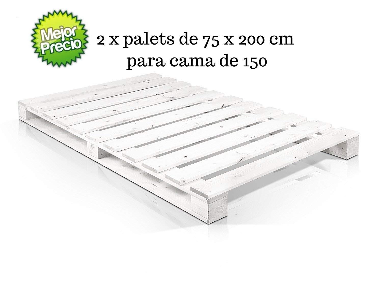 Dydaya 2 x Palets Pintados de Blanco de 75 x 200 cm de ...