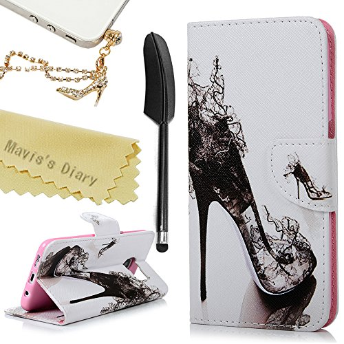 Fashion Case Horizontal (Mavis's Diary S7 Edge Case,Samsung Galaxy S7 Edge Case Fashion Wallet Folio PU Leather Flip Magnetic Cover with Card Pocket Soft TPU Inner Case Cool Black High Heels Pattern with Dust Plug & Stylus)