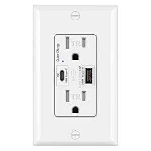 BESTTEN USB Quick Charge Receptacle Outlet, Type C Supports PD & QC 3.0, 15A Tamper Resistant AC Outlets, UL Listed, White