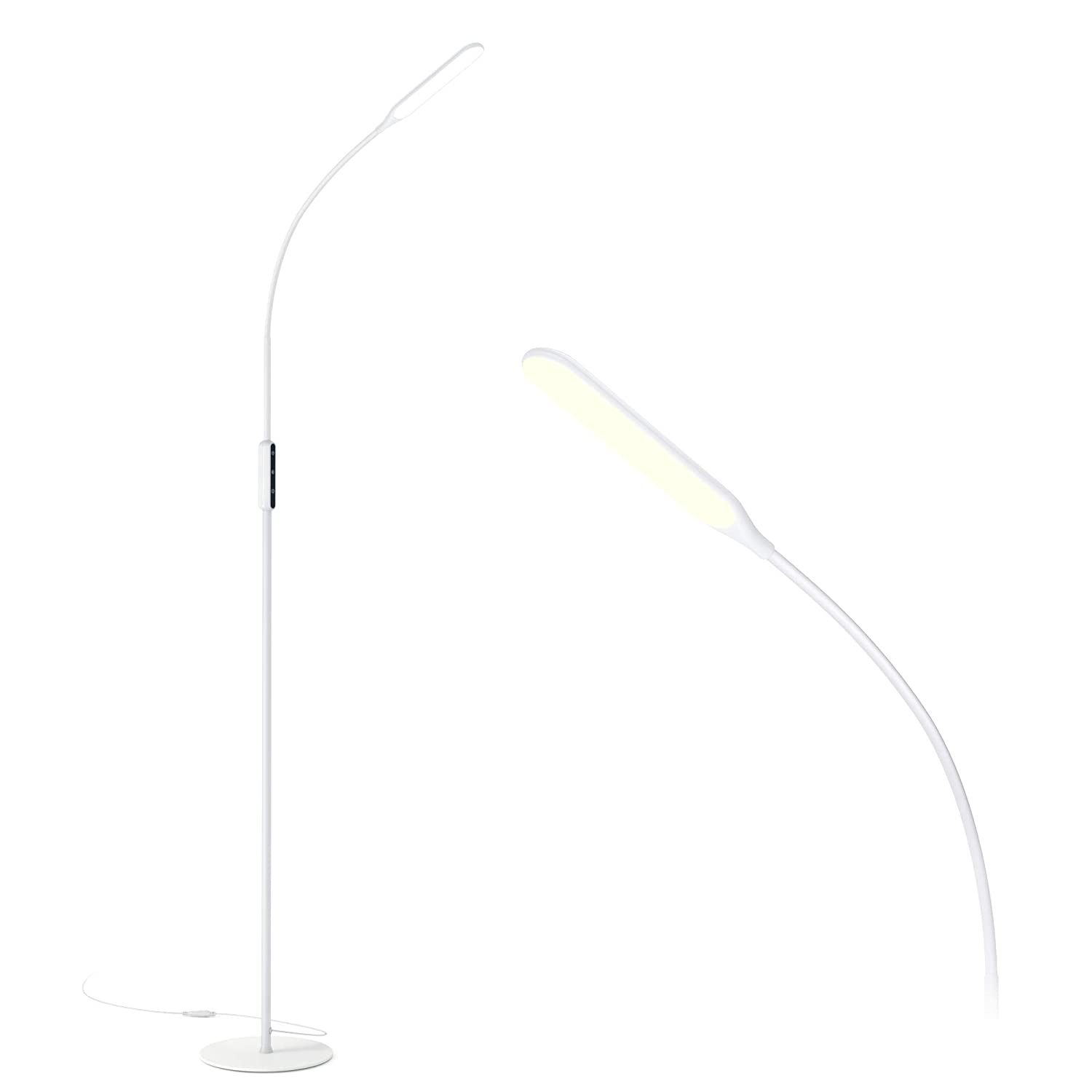 Gladle LED Floor Lamp, Modern Bright Reading Standing Lamps for Living Room Bedroom Office Dorm, Touch Craft Task Floor Light with Adjustable Gooseneck, Dimmable, 3 Colors, Work with Smart Plug, White