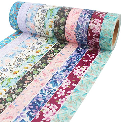Floral Washi Tape 10m Long Each Roll Decorative Masking Tape Japanese Paper Tapes Fabric Tape for Arts and Crafts, DIY Projects, Scrapbooks, Calendar, Bible Journaling and Gift (Pattern Decorative Masking Tape)