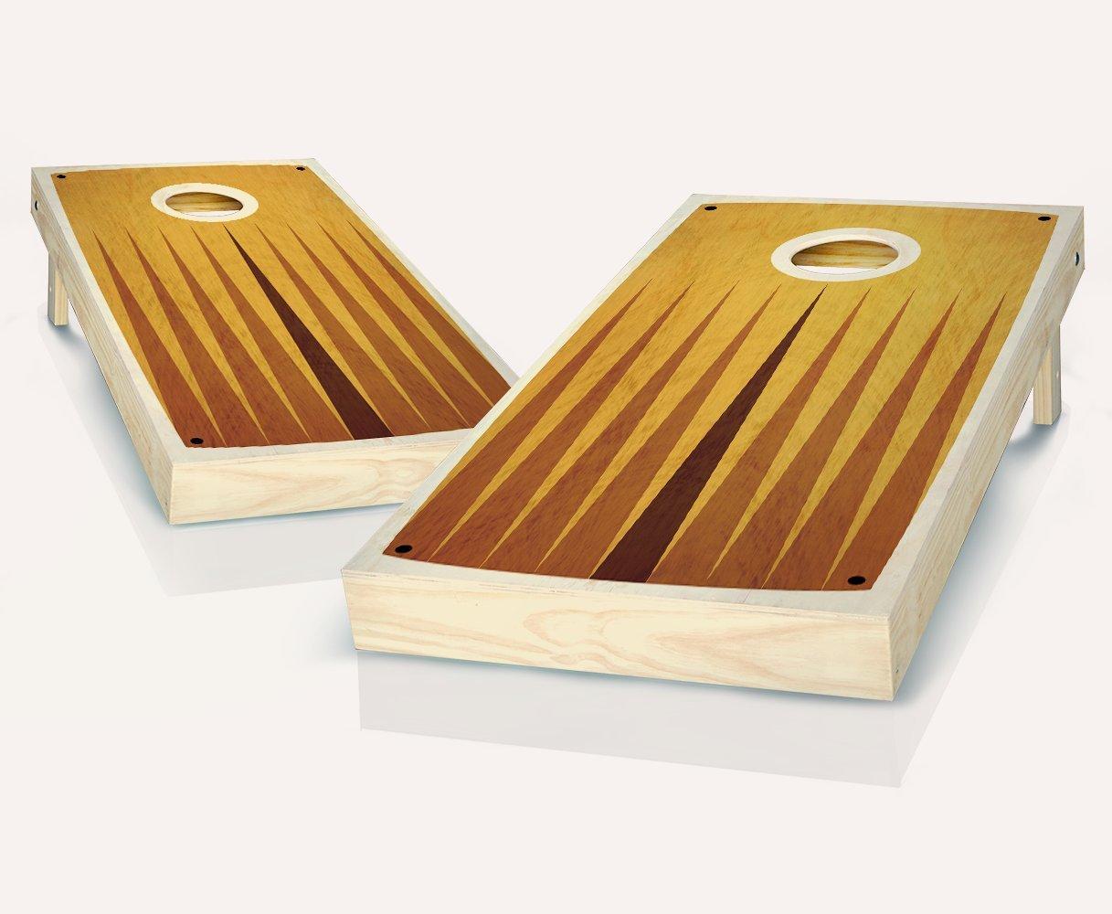 レトロStained Middle PointピラミッドCornhole Boards withのセット8 Cornhole Bags B07BFCV89D