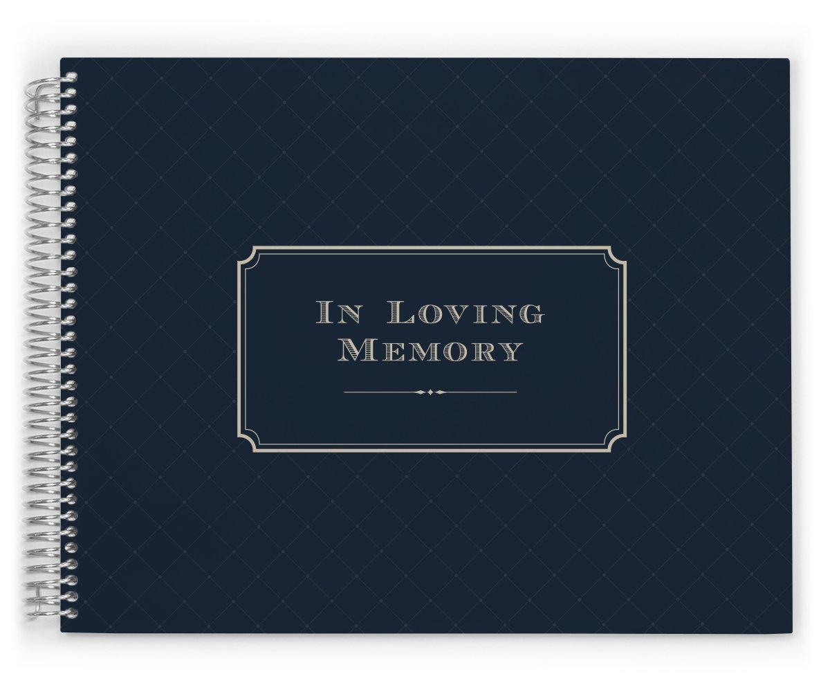 PurpleTrail Guest Book, Funeral Guest Book, Elegant Navy, Remembrance Book, Keepsake