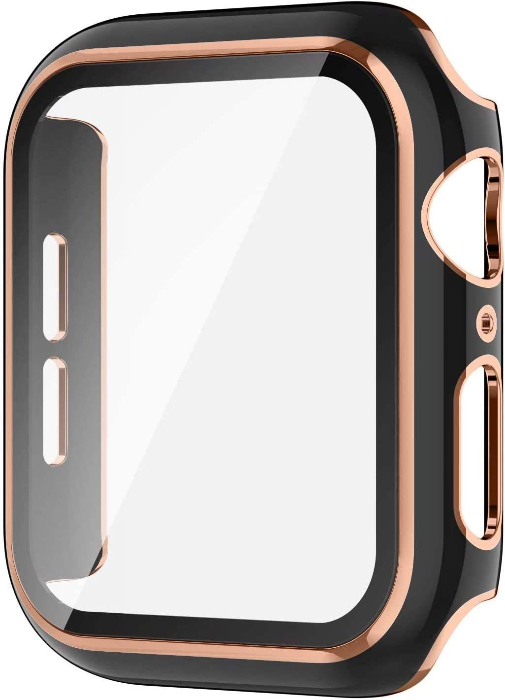 Protective Case for Apple Watch Series 6/5/4/se with HD Tempered Glass Screen Protector, Ultra-Thin Full Coverage PC Frame Cover Scratch-Resistant Bumper Guard for Women Men -- 44mm (Black)