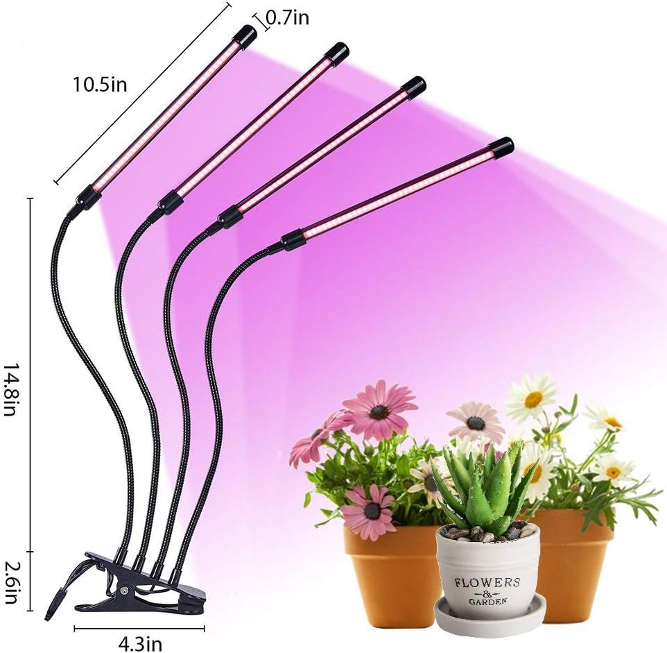 Lampada a LED per piante adattatore USB e 3 timer lampada per piante con funzione di accensione automatica 6 tipi di luminosit/à per piante da giardino 4 testine COB 72 W a spettro completo