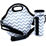 Orchidtent Lunch Bag Reusable Insulated Large Black Neoprene Lunch Box Waterproof Outdoor Travel Picnic Tote with Zipper and Adjustable Crossbody Strap For Women, Adults, Kids, Girls, and Teen Girls