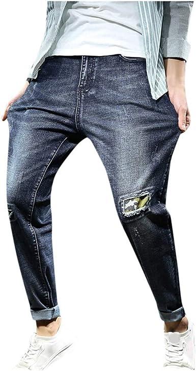 Cinnamou Pantalones Vaqueros Hombre Rotos Skinny Slim Fit Insignia Largos De Mezclilla De Cintura Baja De Pitillo Deportivos Elastico Cremallera Rota Jeans De Bolsillo Vaqueros Skinny Para Hombre Amazon Es Ropa Y Accesorios