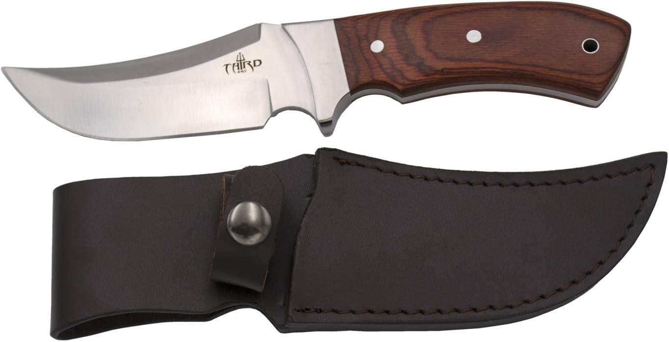 THIRD Cuchillo de Caza 15024PW, con Hoja de Acero 440 de 12 cm Acabado Satinado, Mango de pakkawood. Incluye Funda de Piel.