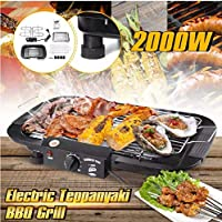 Abhsant Aluminium Alloy 2000W BBQ Griddle Table Smokeless Electric Grill (85 x 300 x 480 mm; Black)