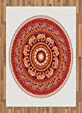 Animal Area Rug by Lunarable, Round Pattern with Elephants Meditation Faith Ethnic Tribal Inspired, Flat Woven Accent Rug for Living Room Bedroom Dining Room, 5.2 x 7.5 FT, Ruby Orange Cream Apricot