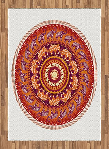 Animal Area Rug by Lunarable, Round Pattern with Elephants Meditation Faith Ethnic Tribal Inspired, Flat Woven Accent Rug for Living Room Bedroom Dining Room, 5.2 x 7.5 FT, Ruby Orange Cream Apricot by Lunarable