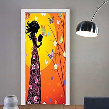 Gzhihine custom made 3d door stickers teen girls decor flowers butterflies and silhouette of girl in
