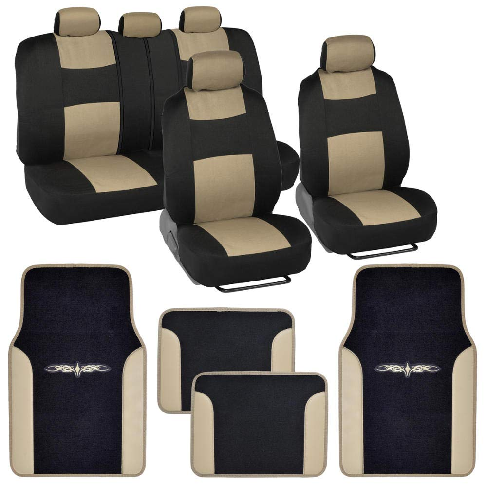 BDK Beige Combo Fresh Design Matching All Protective Seat Covers (2 Front 1 Bench) with Heavy Protection Sleek Graphic Auto Carpet Floor Mats (4 Set) by BDK