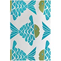 E by design RAN427BL27GR17-23 Big Fish Animal Print Indoor/Outdoor Rug, 2 x 3, Turquoise