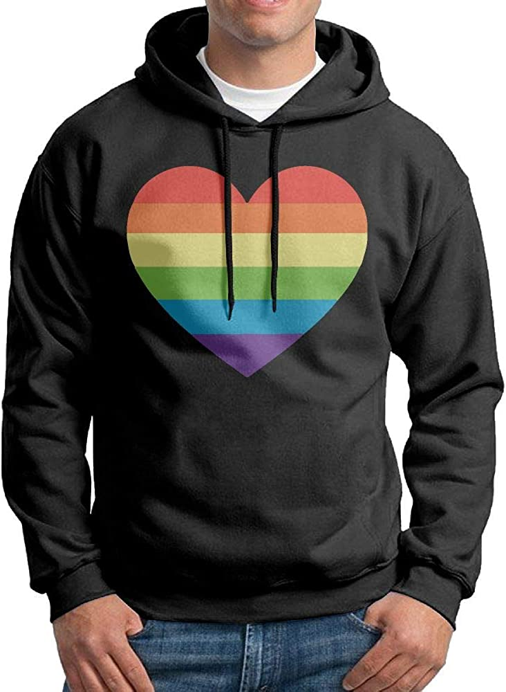 Mens Love Rainbow Heart Patterns Print Athletic Pullover Hood Fashion Sweatshirts