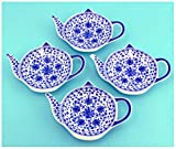 4-Pack of Blue & White Teapot-Shaped Porcelain Ceramic Tea Bag Coasters; Set of Handcrafted Tea Bag Caddies, Spoon Rests with Traditional Floral China Pattern