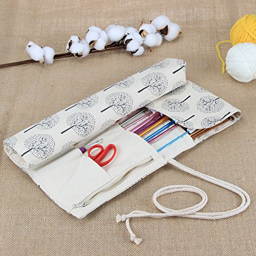 Teamoy Tunisian Crochet Hook Organizer Bag(up to 14 Inches), Cotton Canvas Roll Wrap for Afghan Crochet Hooks, Knitting Needles and Accessories, Tree by Teamoy (Image #7)