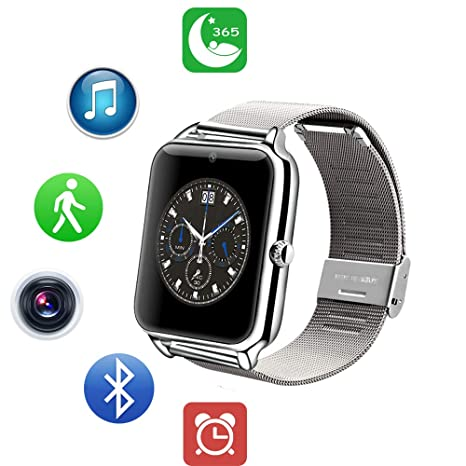 ZEERKEER Android Smart Watch Bluetooth Fitness Watch con Tarjeta SIM/TF Totalmente metálico, Acero