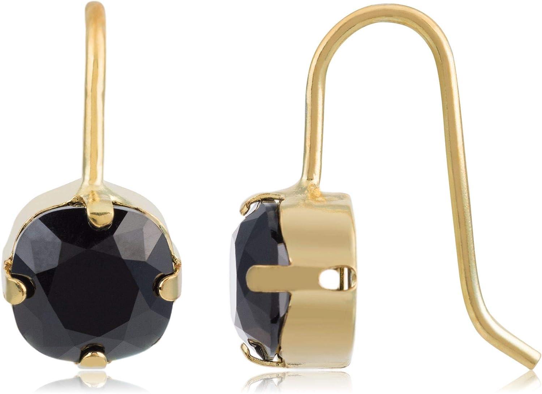 Córdoba Jewels | Pendientes en plata de ley 925 bañada en oro con cristales by Swarovski con diseño Circle Onix Swarovski Gold