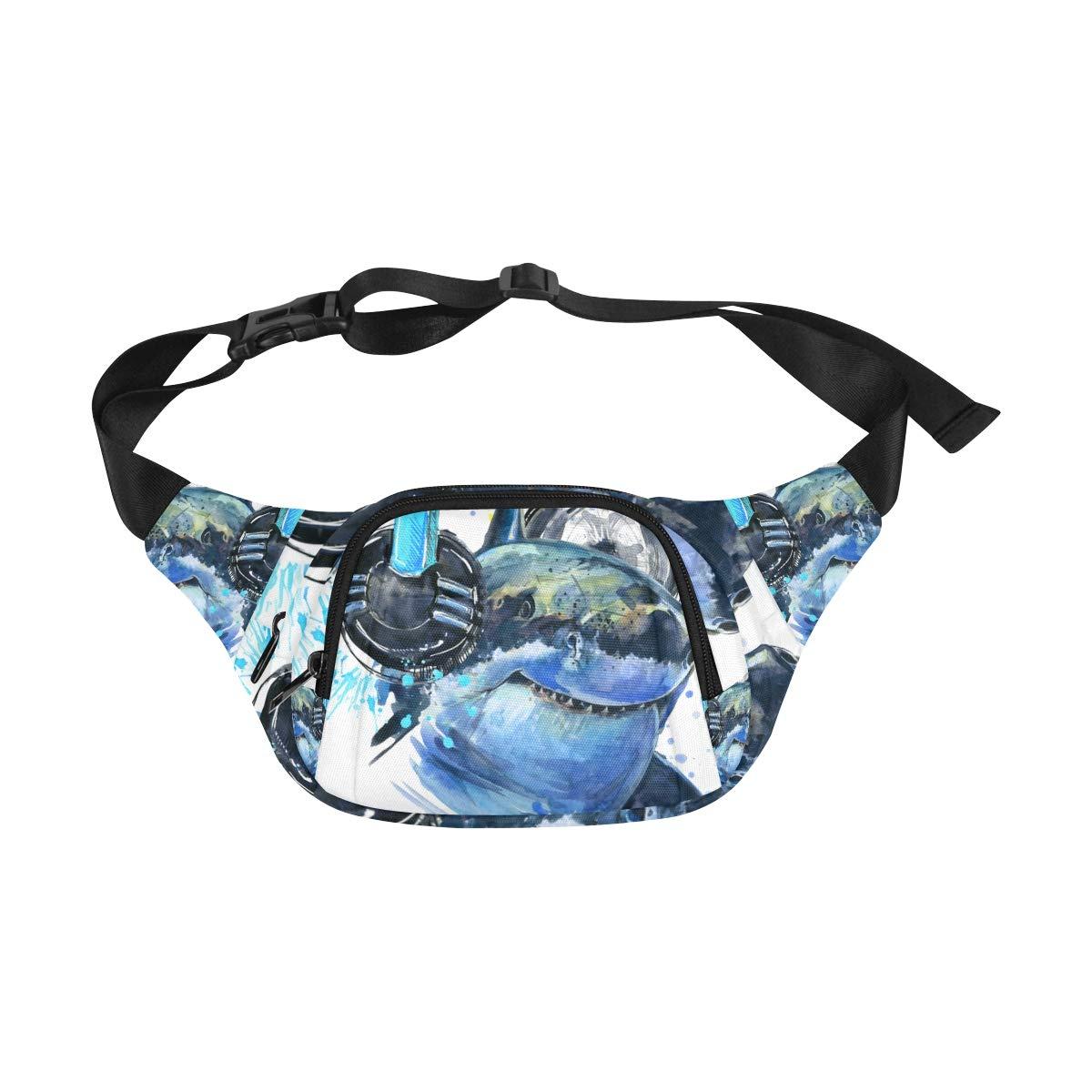 Cute Shark Listening To Music Fenny Packs Waist Bags Adjustable Belt Waterproof Nylon Travel Running Sport Vacation Party For Men Women Boys Girls Kids