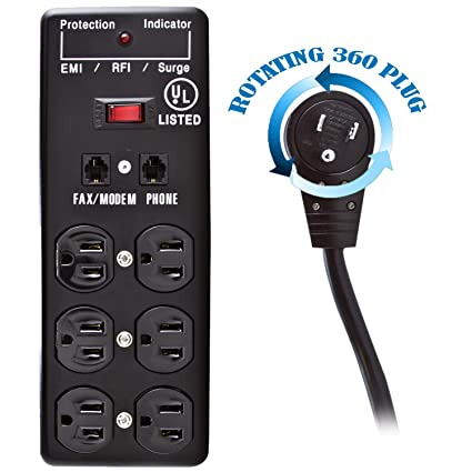 25 Foot Power Cord with 2 Built-in USB Ports 10.5W USB Total Plugable 12 AC Outlet Surge Protector Black