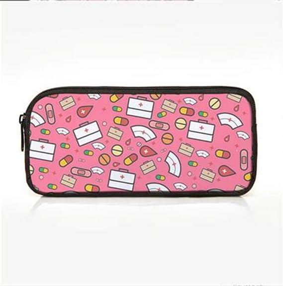 FIFY Neceseres para Maquillaje portátil Estuche,Patrón de Dibujos Animados Enfermera Lápiz Estuches cosméticos Estuches para niños Escolares Niños Bolsa de Maquillaje para Viajar, 25 * 12 cm: Amazon.es: Hogar