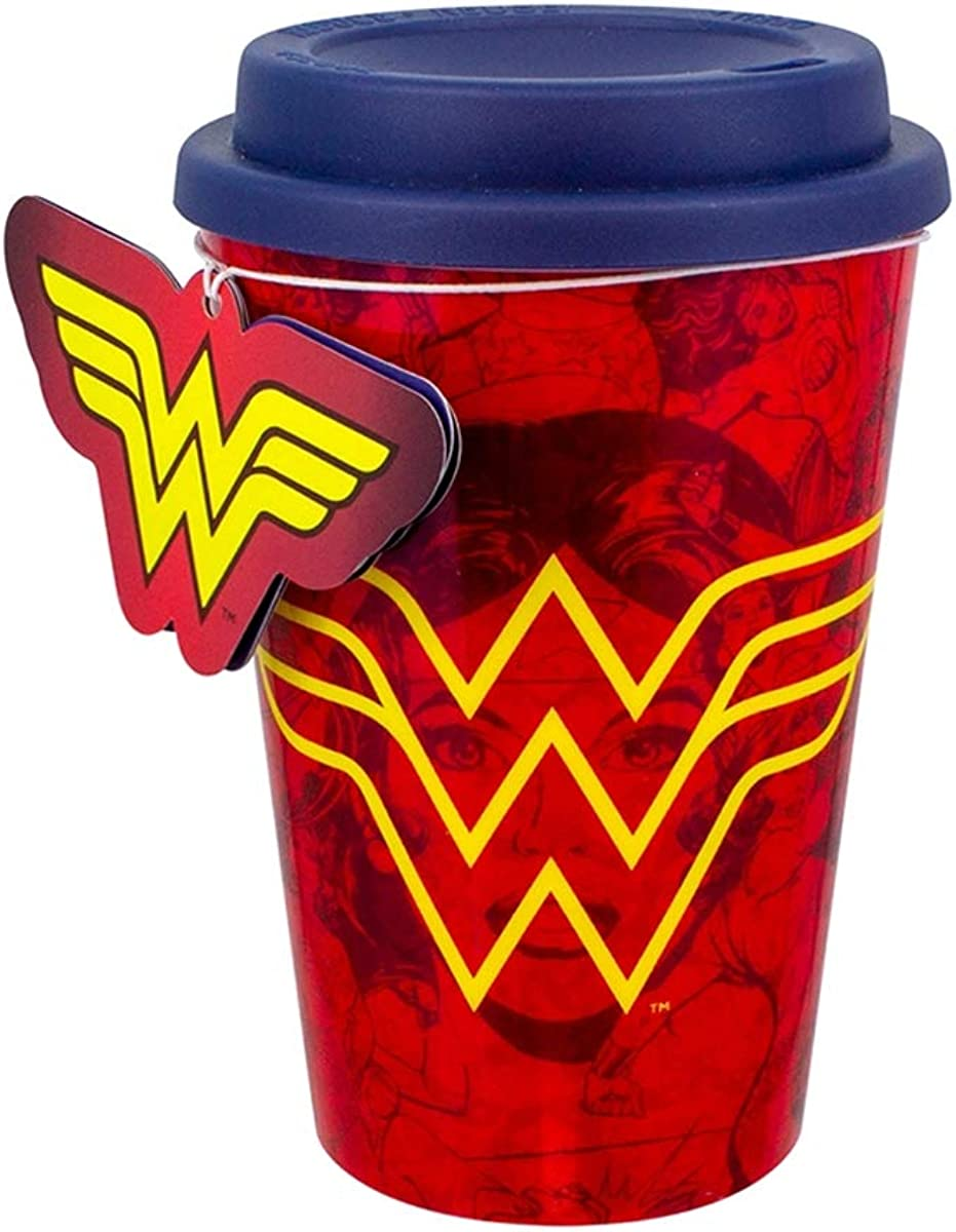 Paladone DC Comics Wonder Woman Travel Mug - Commuter Coffee Cup