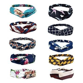 SERWOO Stirnband Damen Kopfband Haarband Turban Elastische Weiche Stirnband Blume Muster bedruckt Verdreht Baumwolle f/ür Alltag Yoga Sport Fitness